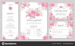 Set Wedding Invitation Card Templates Watercolor Rose Flowers