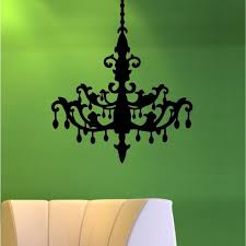 crystal chandelier silhouette wall art decal decor