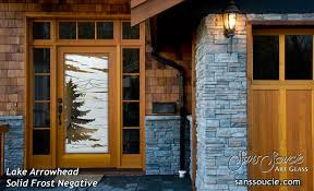etched glass doors pine trees entry