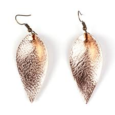 rose gold leaf leather teardrop dangle earrings inspired by joanna gaines
