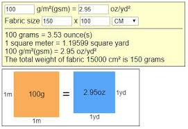 Lbs To Grams Conversion Chart Textile Fabric Weight And Conversions G M Gsm Oz Yd