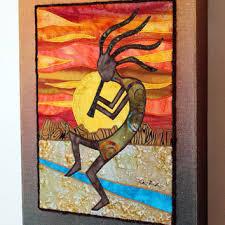 Kokopelli, Native American, Southwest art, Art quilt on canvas ... & Kokopelli, Native American, Southwest art, Art quilt on canvas, Home decor Adamdwight.com
