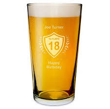 personalised etched beer glass