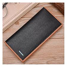 men real leather wrist clutch wallet card purse zipper coin pocket handbag bk