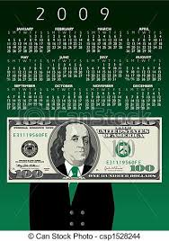 2009 One Hundred Dollar Bill Calendar With Ben Franklin .