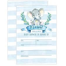 Amazon Com Boy Baby Shower Invitation Elephant Baby Shower