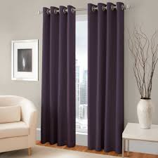 Purple Curtains For Living Room Pretty Purple Room Darkening Curtains With Silver Rods On Gray