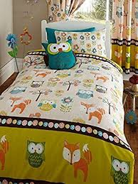 Woodland Creatures Junior Toddler Bed Size Duvet Cover ... & Woodland Creatures Junior Toddler Bed Size Duvet Cover & Pillowcase Set -  Owls & Foxes Adamdwight.com