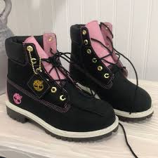 Custom Design Timberland Boots Custom Made Black And Pink Timberland Boots Never Depop