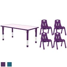 Kids Table and Chair Set Adjustable Leg Wide Activity Table School