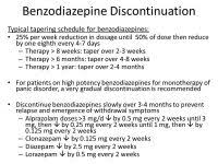 Benzodiazepine Taper Chart Benzo Chart