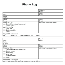 Free Printable Phone Call Log Template Message Pdf Images Of