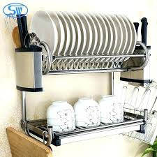 wall mounted dish rack wood hanging drainer whole stainless steel folding drying singapore