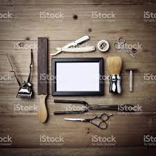 vintage tools. set of vintage tools barber shop with picture frame k