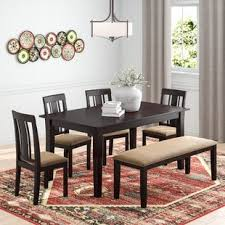 modern dining table with bench. Oneill Modern 6 Piece Wood Dining Set Table With Bench