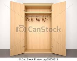 open closet door drawing. 3d Illustration Of Empty Open Wooden Wardrobe With Hangers Closet Door Drawing M