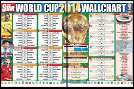 World Cup 2014 Wall Chart Sports World Cup Fixtures
