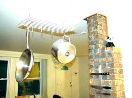 pots ging rack innovative amazing kitchen pot racks wooden pan ceiling wall mounted hanging