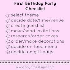 First Birthday Party Checklist