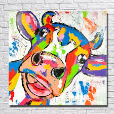 cartoon hand painted large canvas paintings cow oil paintings modern decoration wall art living room decor