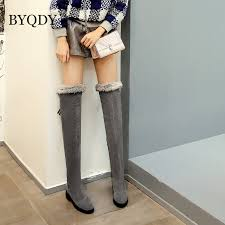 <b>BYQDY New 2020</b> Fashion Woman Snow Boots Round Toe Med ...