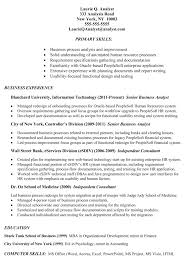 Resume Job Description Examples Resume Sample Example Of Business Analyst Resume Targeted