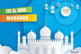 Eid al adha mubarak Feierkarte mit Moschee und Schafen in -  Stock-Vektorgrafi