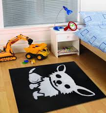 All Black Kids Bedroom Area Rug with White Dog Design