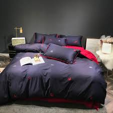 100 cotton bedding set navy blue and red double side reversible duvet cover sets 60s sateen bed linen tribute silk sheets white king duvet cover comforter
