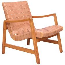 risom lounge chair leather. early jens risom armchairs by knoll / vostra with new leather webbing at 1stdibs lounge chair