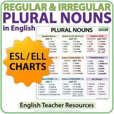 English Speaking Chart Plural Nouns Charts Regular Irregular Nouns In English