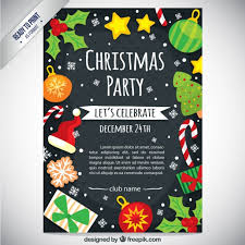 Cute Christmas Party Flyer Vector Free Download