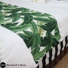 palm leaf print custom designer bed scarf