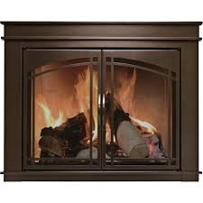 pleasant hearth fenwick fireplace glass door bronze for 30in 37in w
