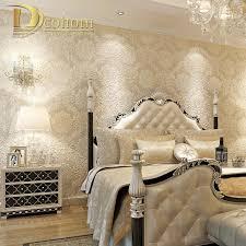 european simple luxury beige deep blue damask wallpaper for wall 3