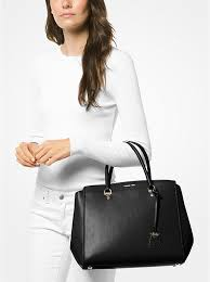 black michael kors benning extra large leather satchel bag