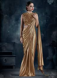 Designer Stitched Saree Gold Fancy Silk Readymade Saree