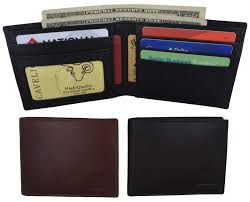 Design We Wallets Details About Mens Genuine Leather Id Card Holder Classic Design Slim Bifold Wallet By Cavelio