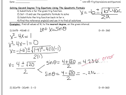 9 7 2nd degree trig equations quadratic formula