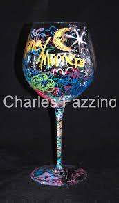 fazzino hand painted art honey mooners wine glass