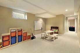 ... Charming Basement Interior With Various Basement Wall Color : Cool  Modern Basement Living Room Decoration Using