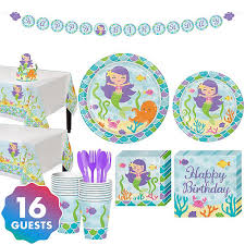 Mermaid Tableware Kit for 16 Guests Party Supplies - Birthday | City