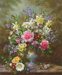 spring painting bluebells daffodils primroses and peonies in a blue vase by albert williams
