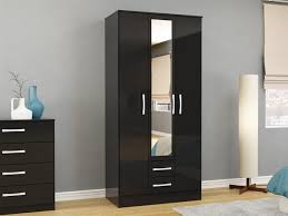 Contemporary 3 Door Lynx Wardrobe with Mirror and Drawers in High Gloss  Black