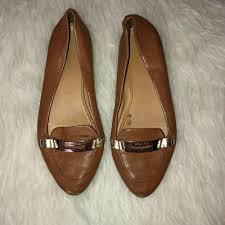 details about coach ruthie womens cognac leather loafers buckle flat ballerina shoes sz 9