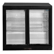 under counter glass fronted double door fridge thumnail image