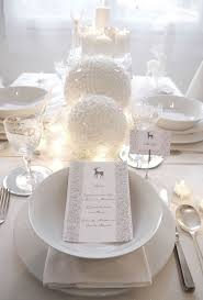 white table settings. White Tablescape With Oversized Snow-inspired Ornaments And Porcelain Table Settings E