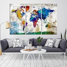 >amazon world map wall art canvas print push pin world map for  world map wall art canvas print push pin world map for living and office decor