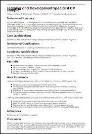 Learning And Development Specialist Cv Sample Myperfectcv