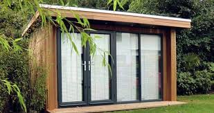 wooden garden shed home office. Garden Shed Home Office With Flat Roof And Glass Doors Shutters Wooden